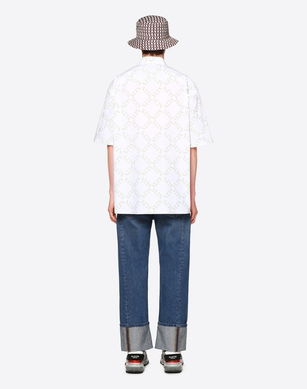 SHORT-SLEEVE SHIRT WITH VLTN GRID PRINT