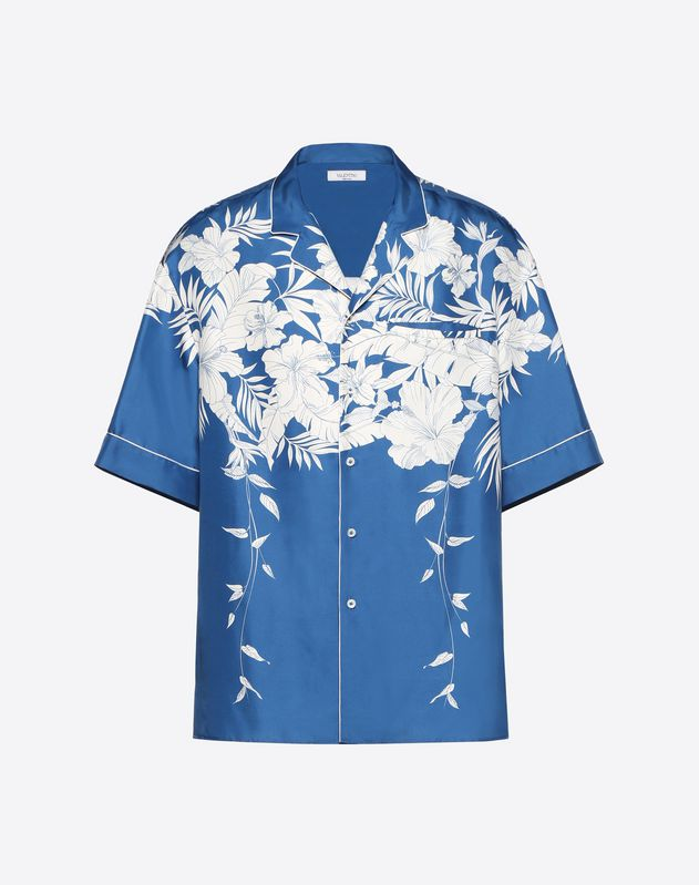 SHORT-SLEEVE HAWAII BLUE SHIRT WITH PIPING