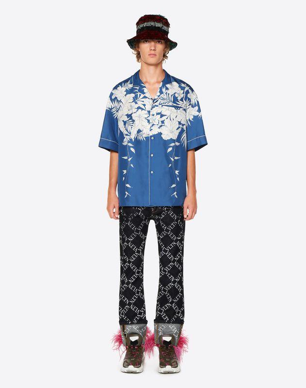 하와이 블루 파이핑 디테일 반소매 셔츠
