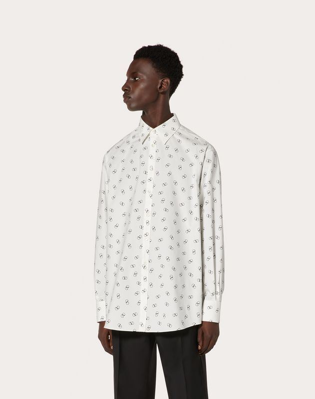 OVERSIZED SHIRT WITH VLOGO PRINT