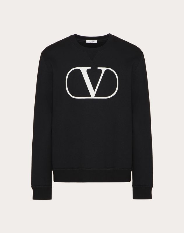 CREW-NECK SWEATSHIRT WITH CRAQUELURE VLOGO PRINT