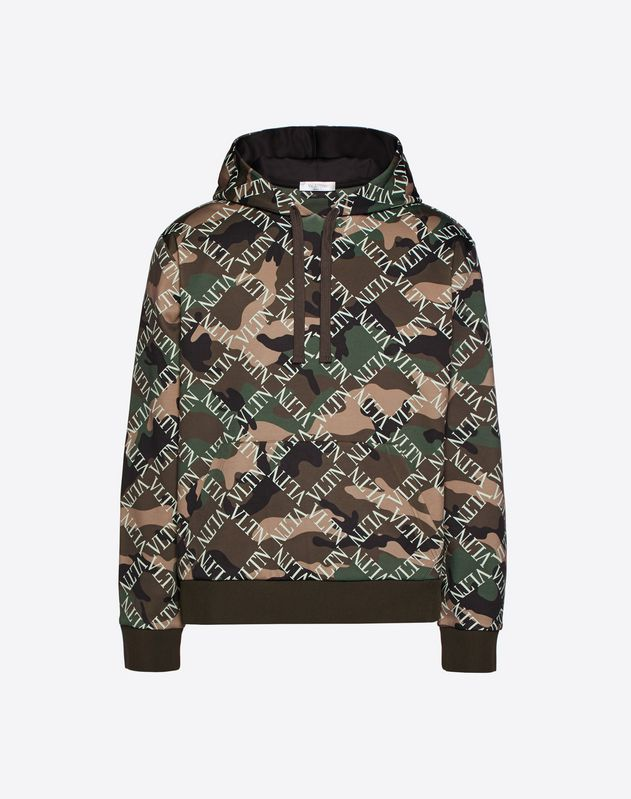 VLTN GRID HOODED SWEATSHIRT