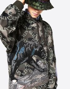 VLTN GRID SWEATSHIRT WITH PANTHER EMBROIDERY