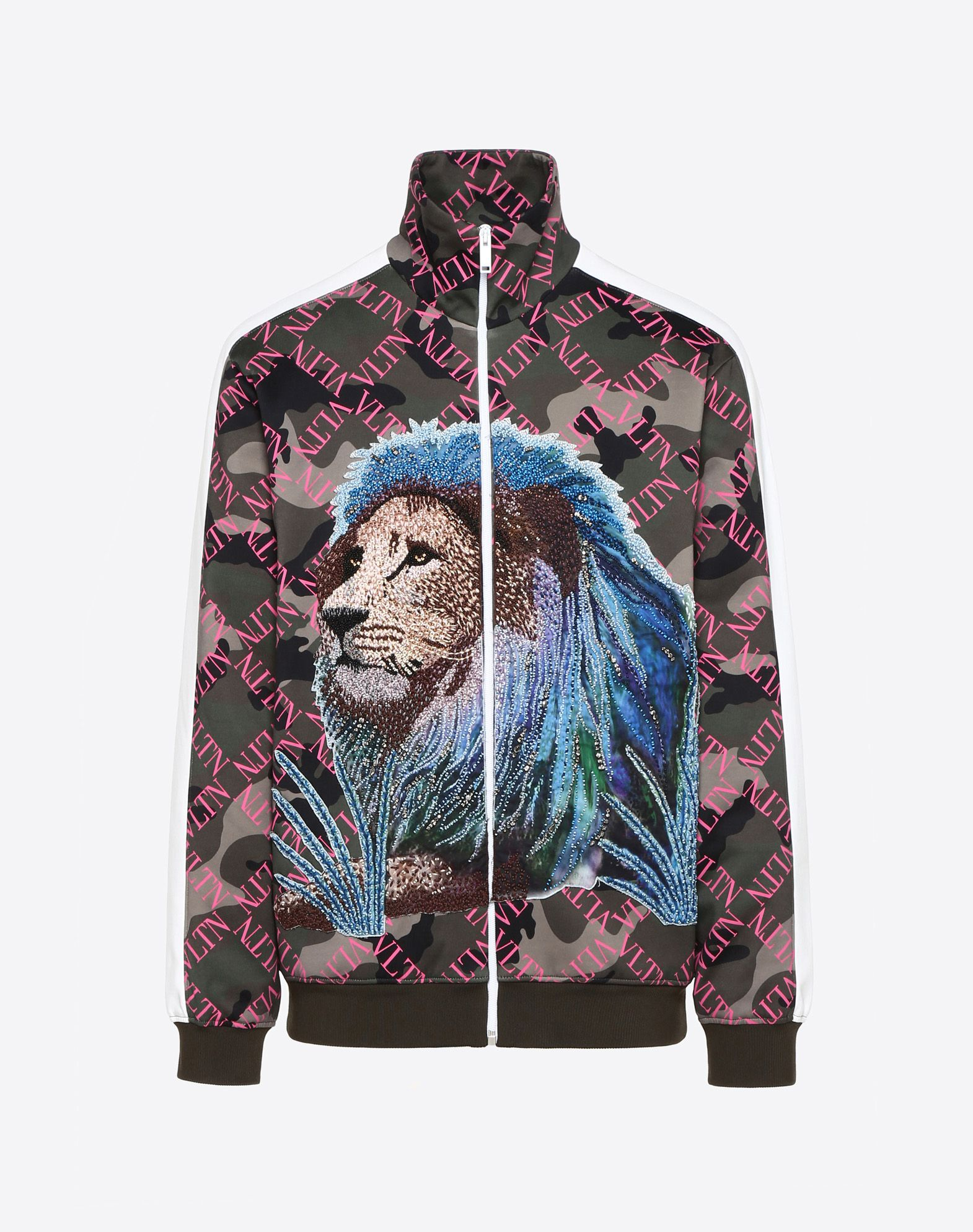 VLTN GRID SWEATSHIRT WITH LION EMBROIDERY