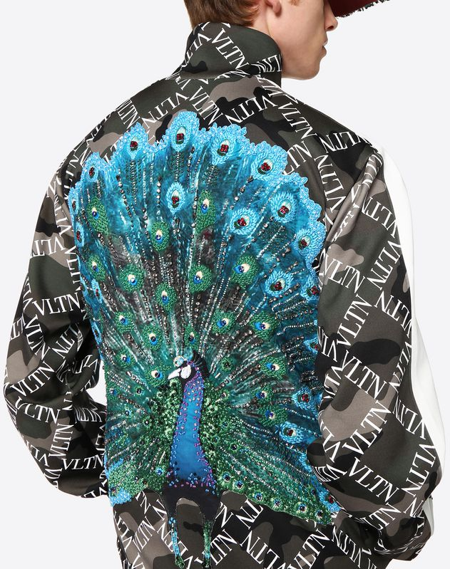VLTN GRID SWEATSHIRT WITH PEACOCK EMBROIDERY