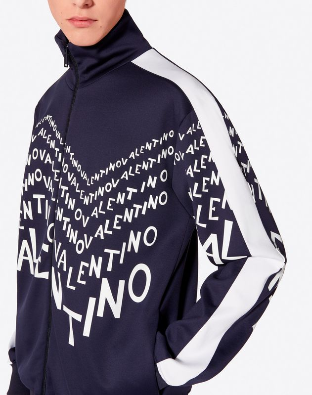VALENTINO CHEVRON PRINT SWEATSHIRT WITH ZIP