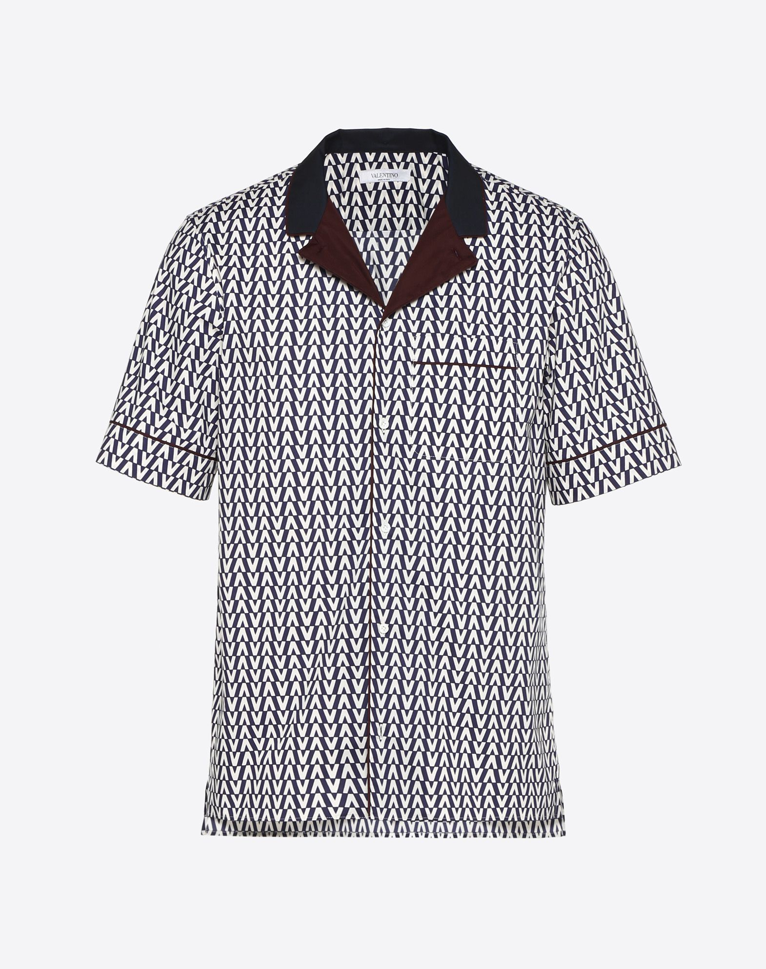 OPTICAL VALENTINO HALF-SLEEVE POPLIN SHIRT