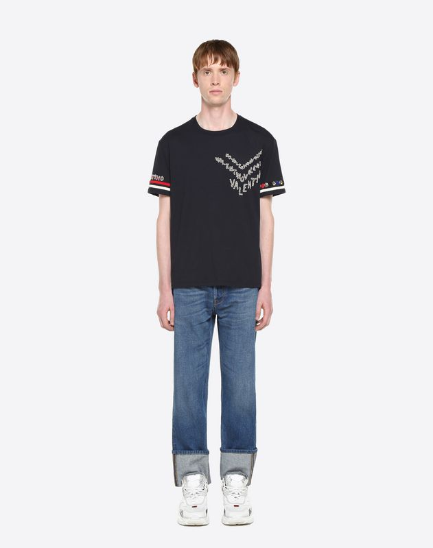 VALENTINO CHEVRON EMBROIDERY T-SHIRT