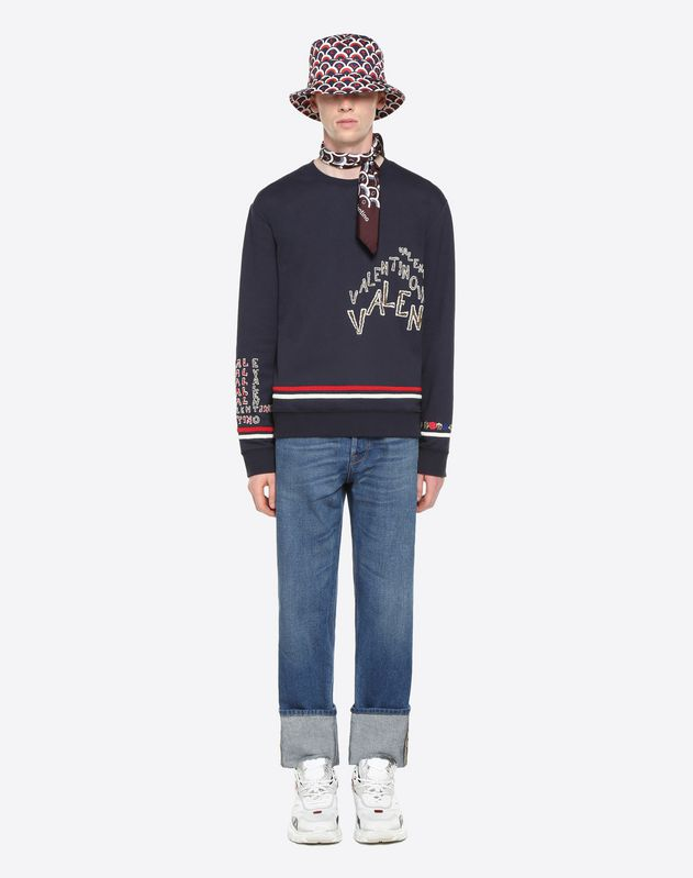 VALENTINO CHEVRON EMBROIDERY SWEATSHIRT