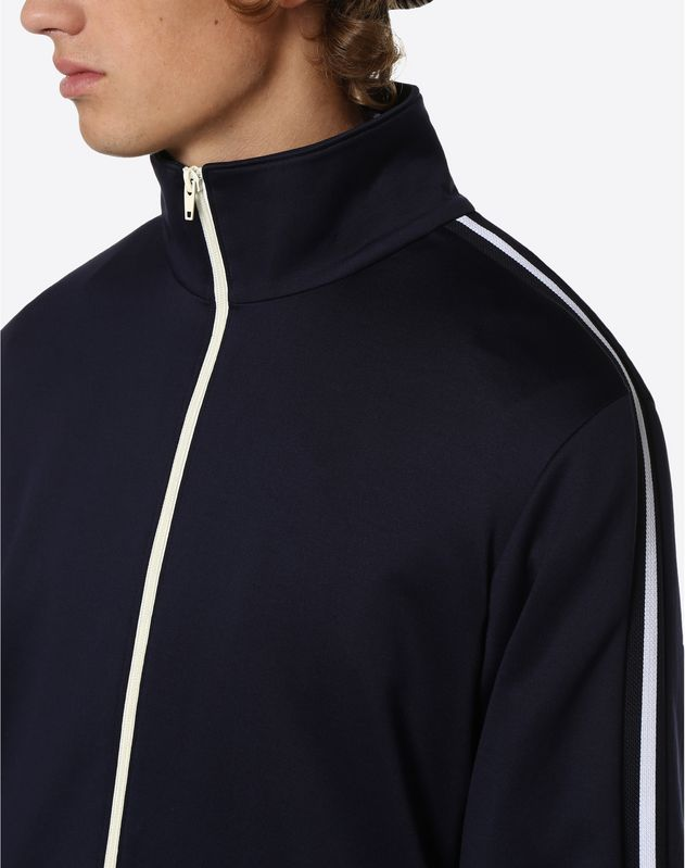 ZIPPERED SWEATSHIRT WITH STRIPE ON SHOULDERS
