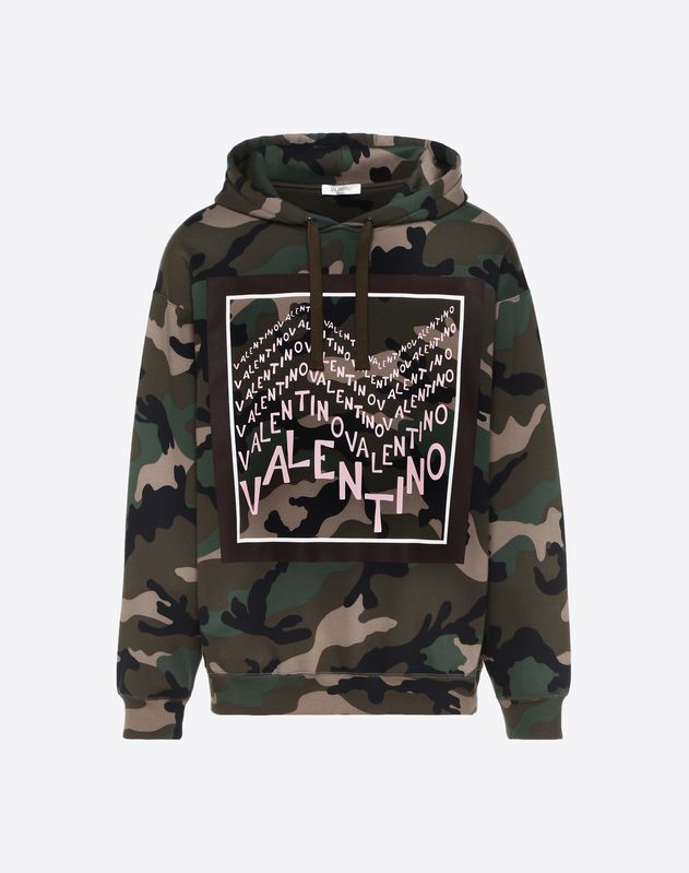 HOODED SWEATSHIRT WITH VALENTINO CHEVRON PRINT