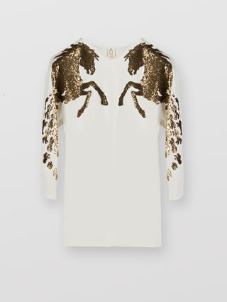 Horse-embroidered top