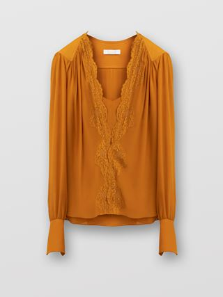 Lace-trimmed blouse