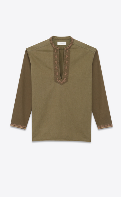 Tunic in embroidered cotton gabardine
