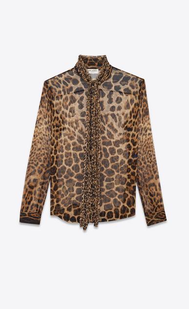 Blouse lavallière en mousseline de soie léopard ysl