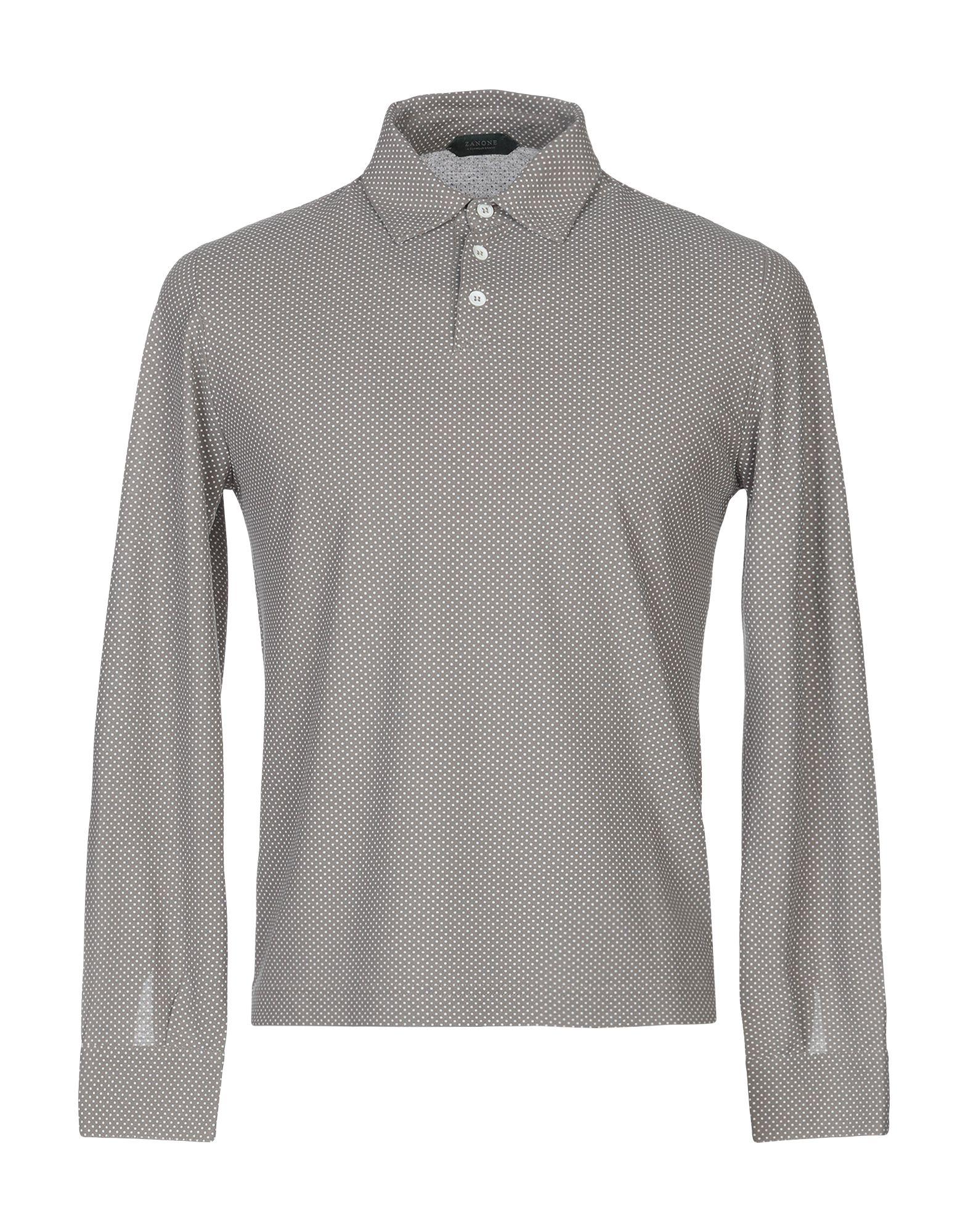 《送料無料》ZANONE メンズ ポロシャツ カーキ 46 コットン 100%