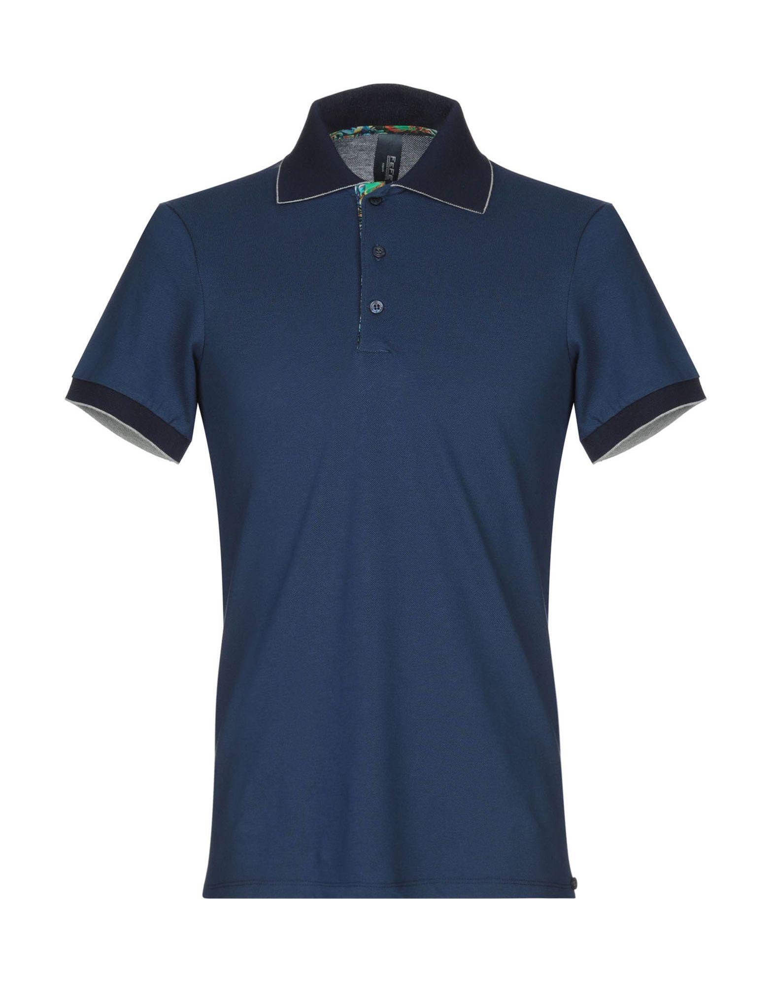 《送料無料》FEF? GLAMOUR POCHETTE メンズ ポロシャツ ダークブルー S コットン 100%