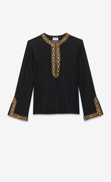 Wool challis shirt with mirror embroidery