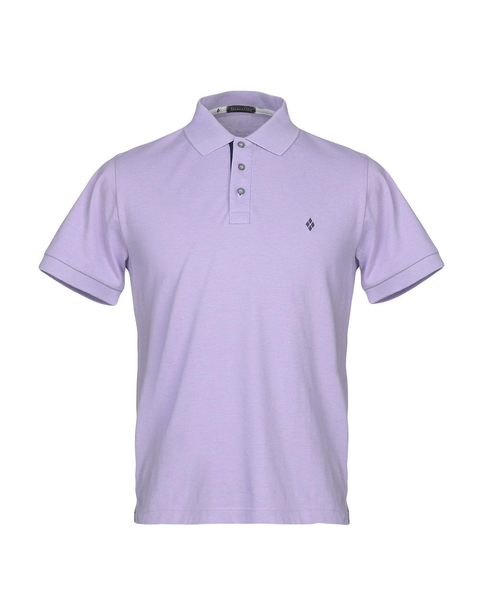 《セール開催中》BALLANTYNE メンズ ポロシャツ ライトパープル S コットン 100%