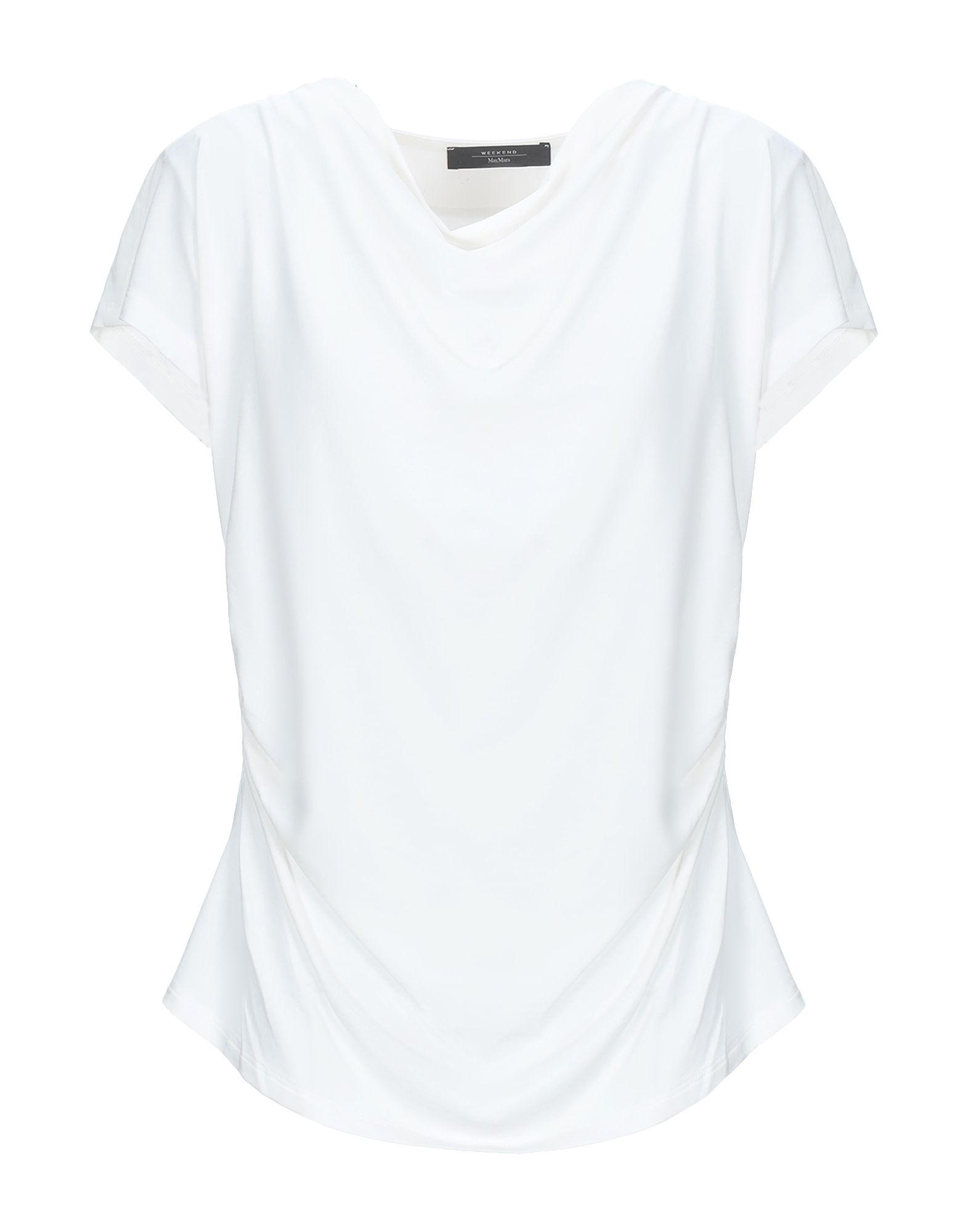 《セール開催中》WEEKEND MAX MARA レディース T シャツ ホワイト XL テンセル 63% / コットン 30% / ポリウレタン 7%