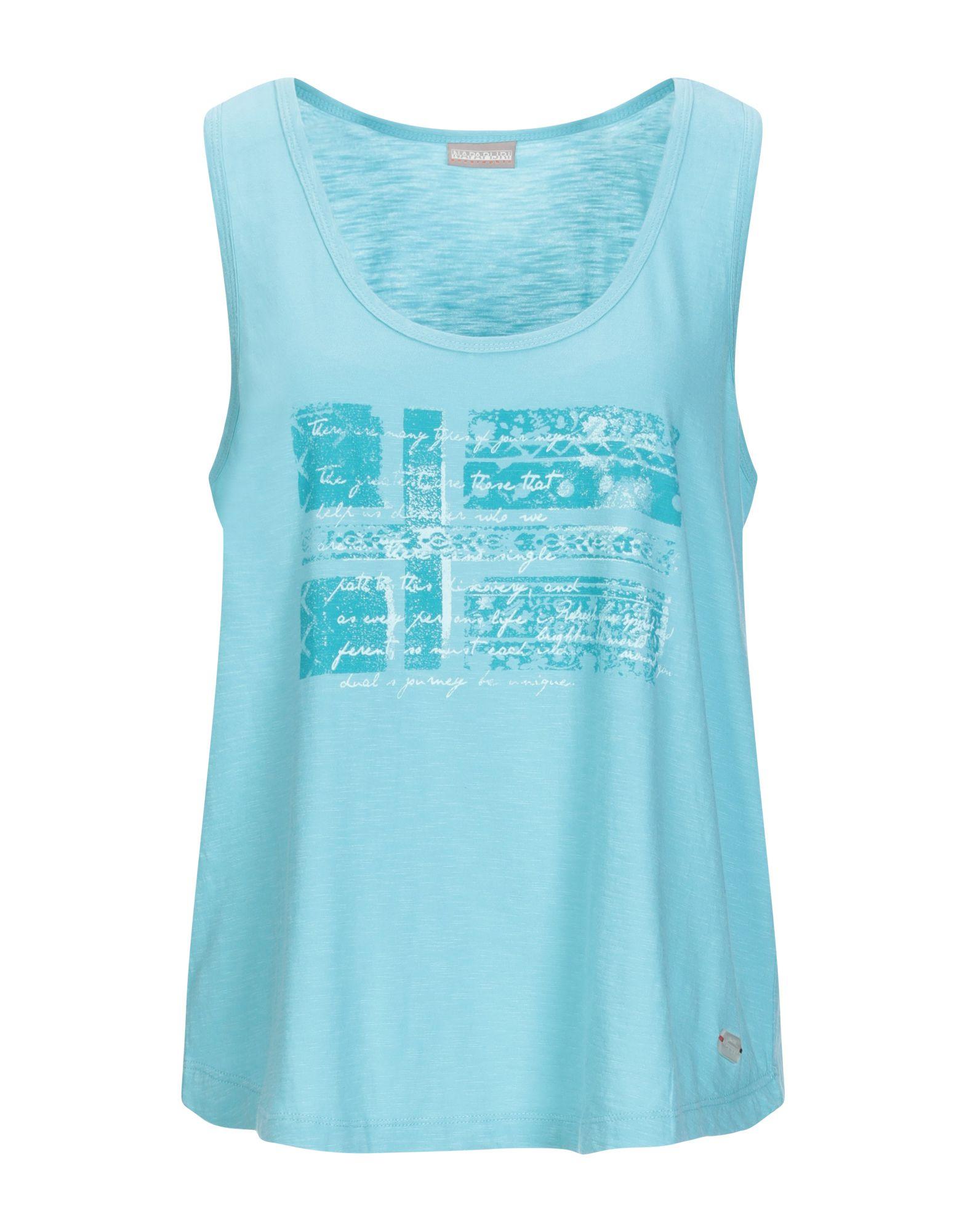 NAPAPIJRI Tank tops. jersey, print, logo, solid color, round collar, sleeveless, no pockets. 100% Cotton