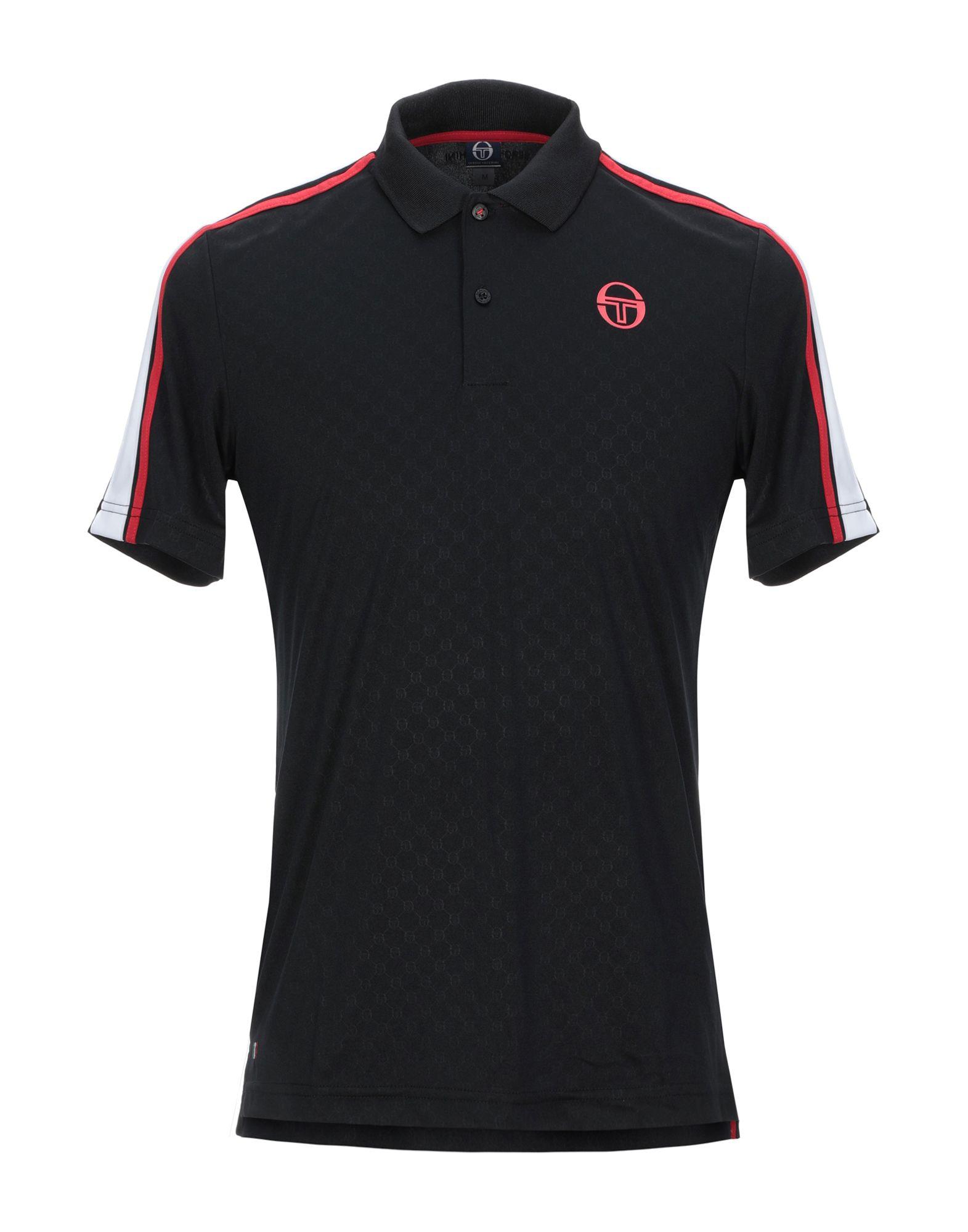 《セール開催中》SERGIO TACCHINI メンズ ポロシャツ ブラック M 100% ポリエステル