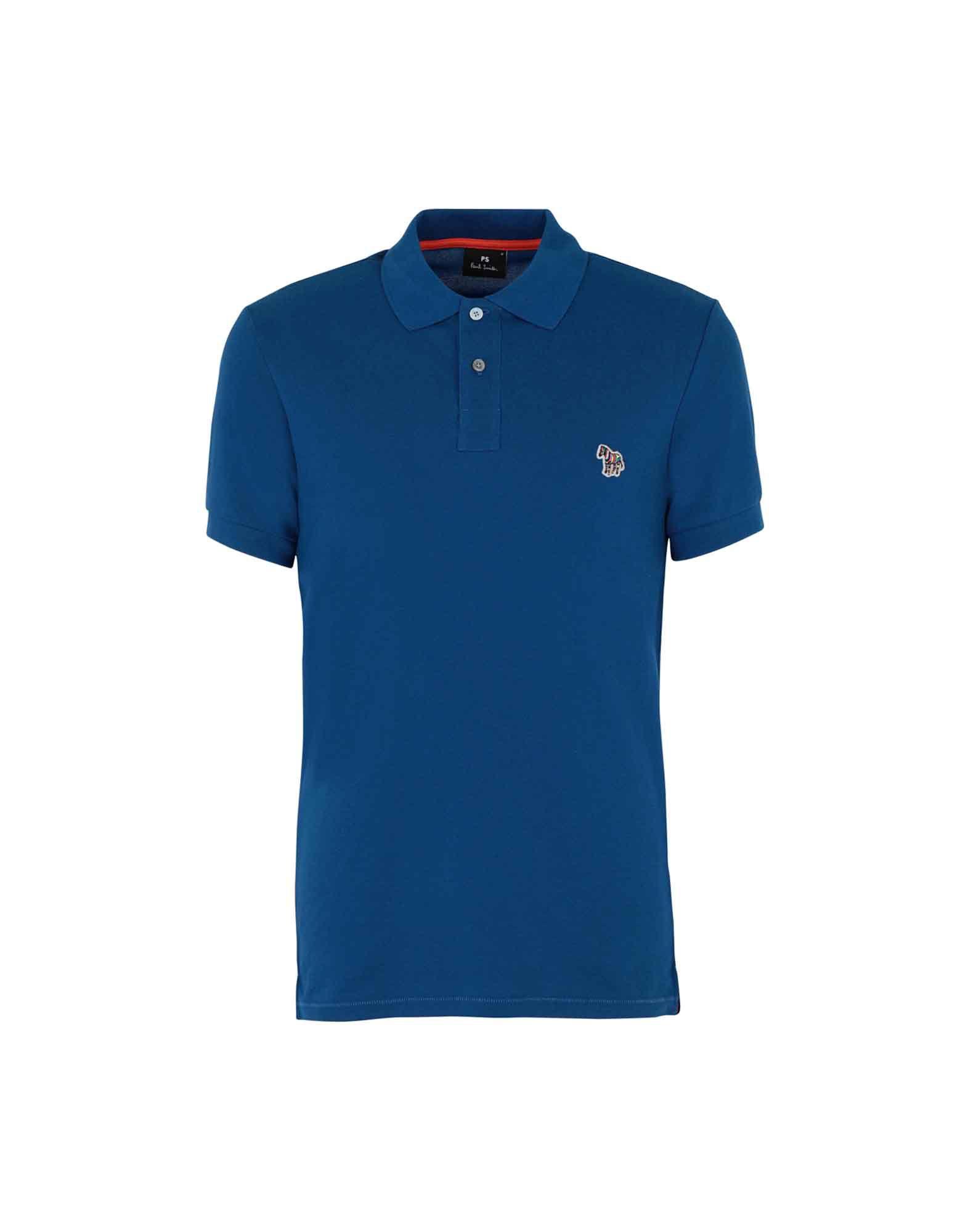 《送料無料》PS PAUL SMITH メンズ ポロシャツ ブルーグレー S 100% オーガニックコットン