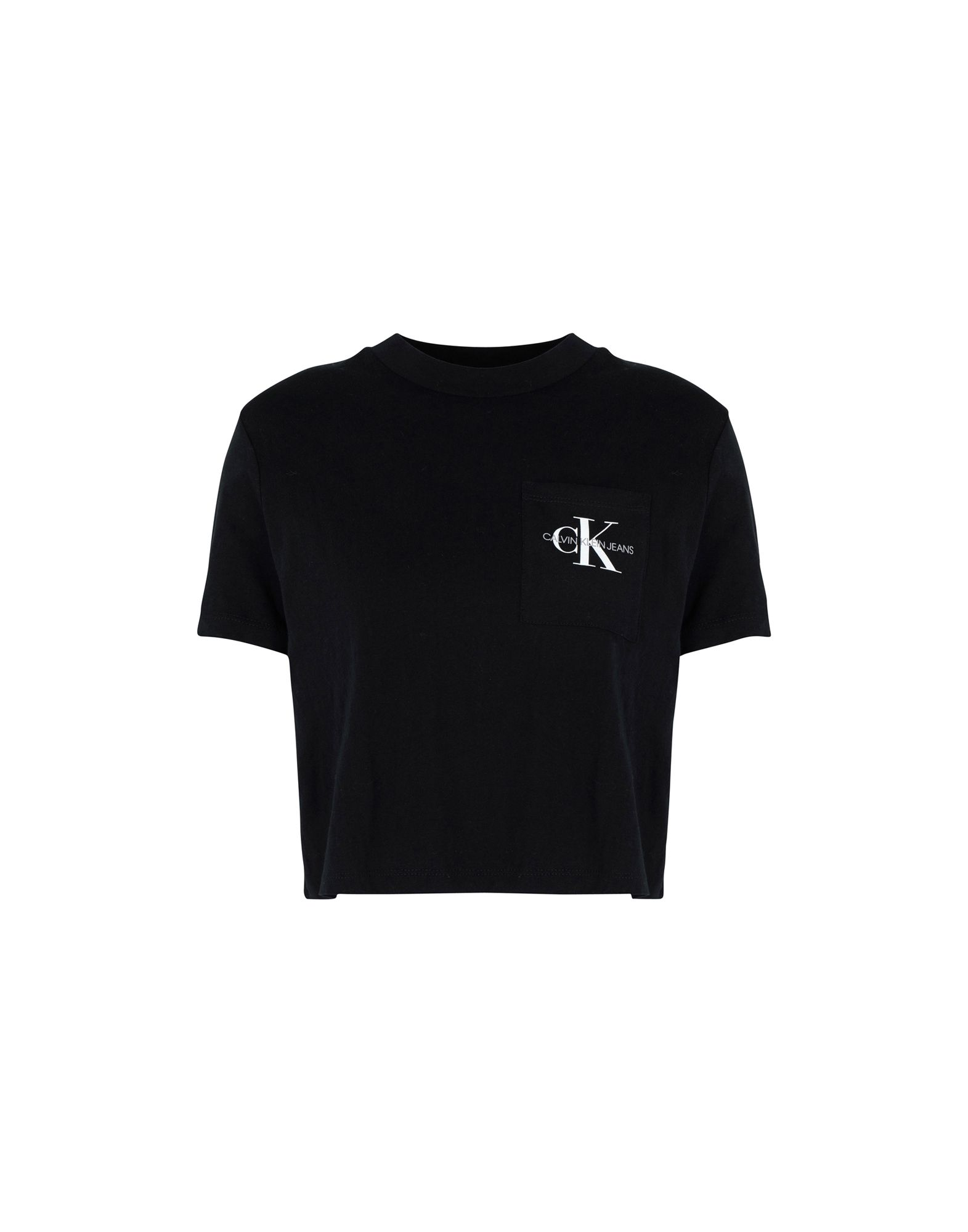 《送料無料》CALVIN KLEIN JEANS レディース T シャツ ブラック S 100% コットン MONOGRAM CROP POCKET