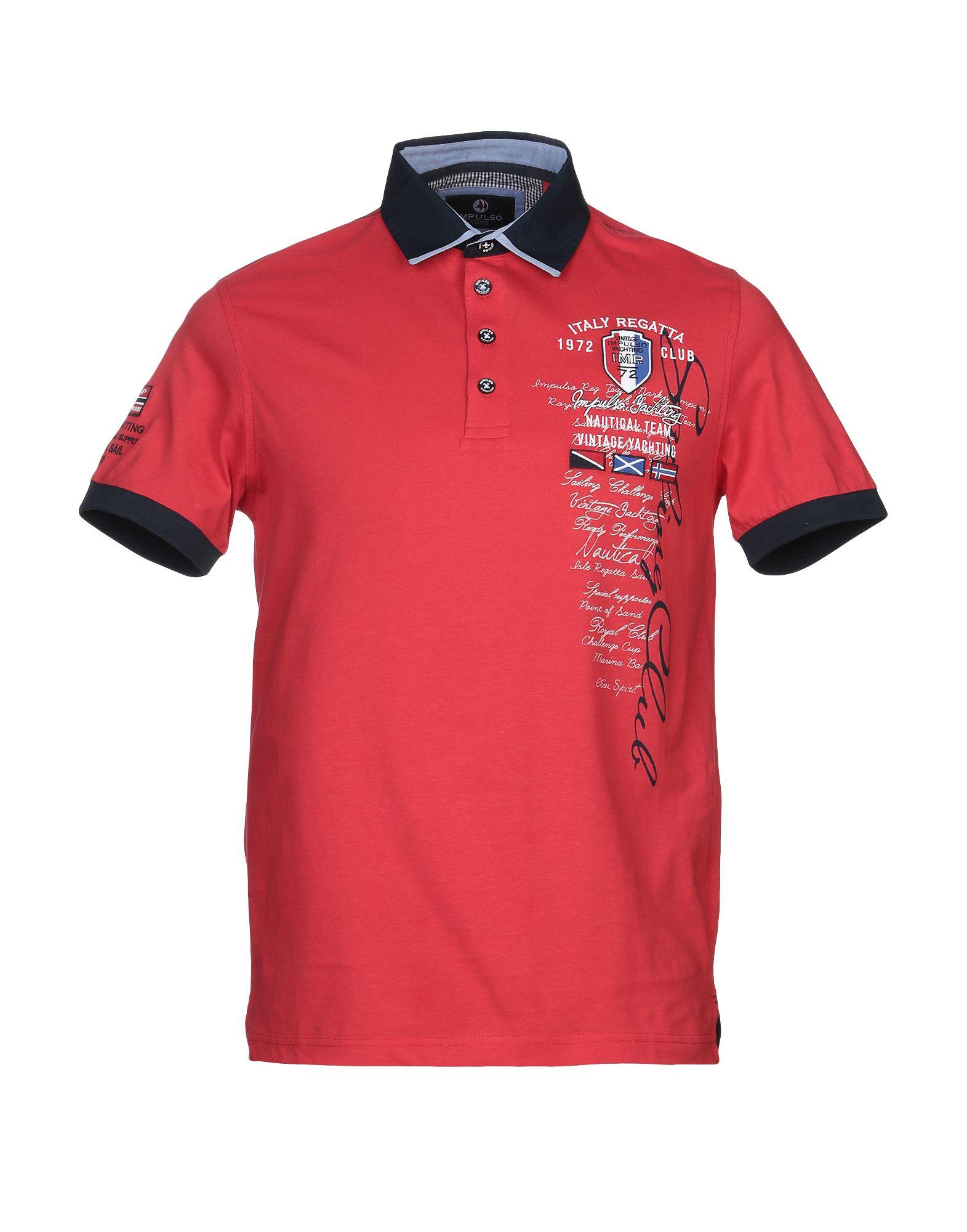 《送料無料》IMPULSO メンズ ポロシャツ レッド 46 コットン 100%