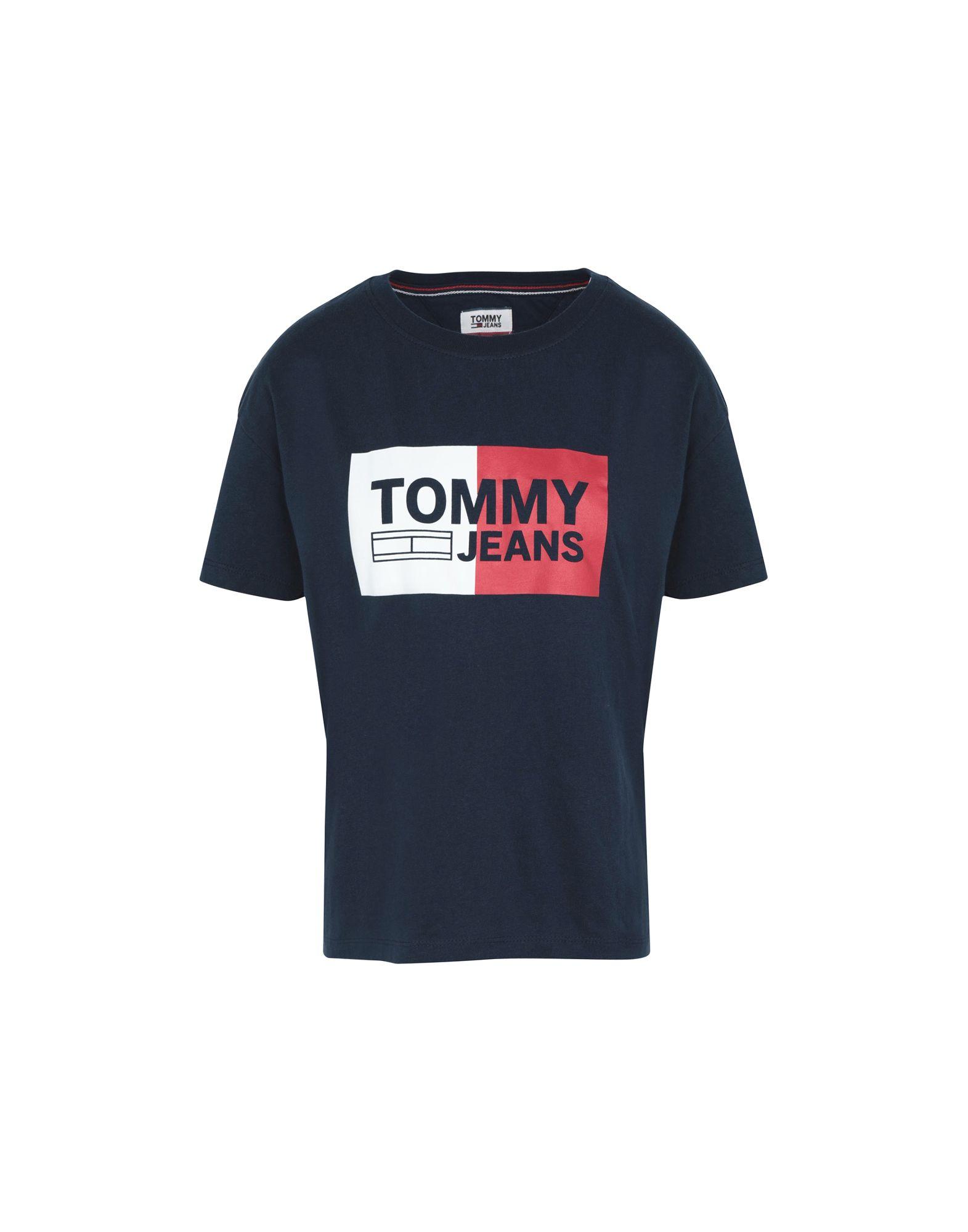 《送料無料》TOMMY JEANS レディース T シャツ ダークブルー XS コットン 100% TJW BOX LOGO TEE