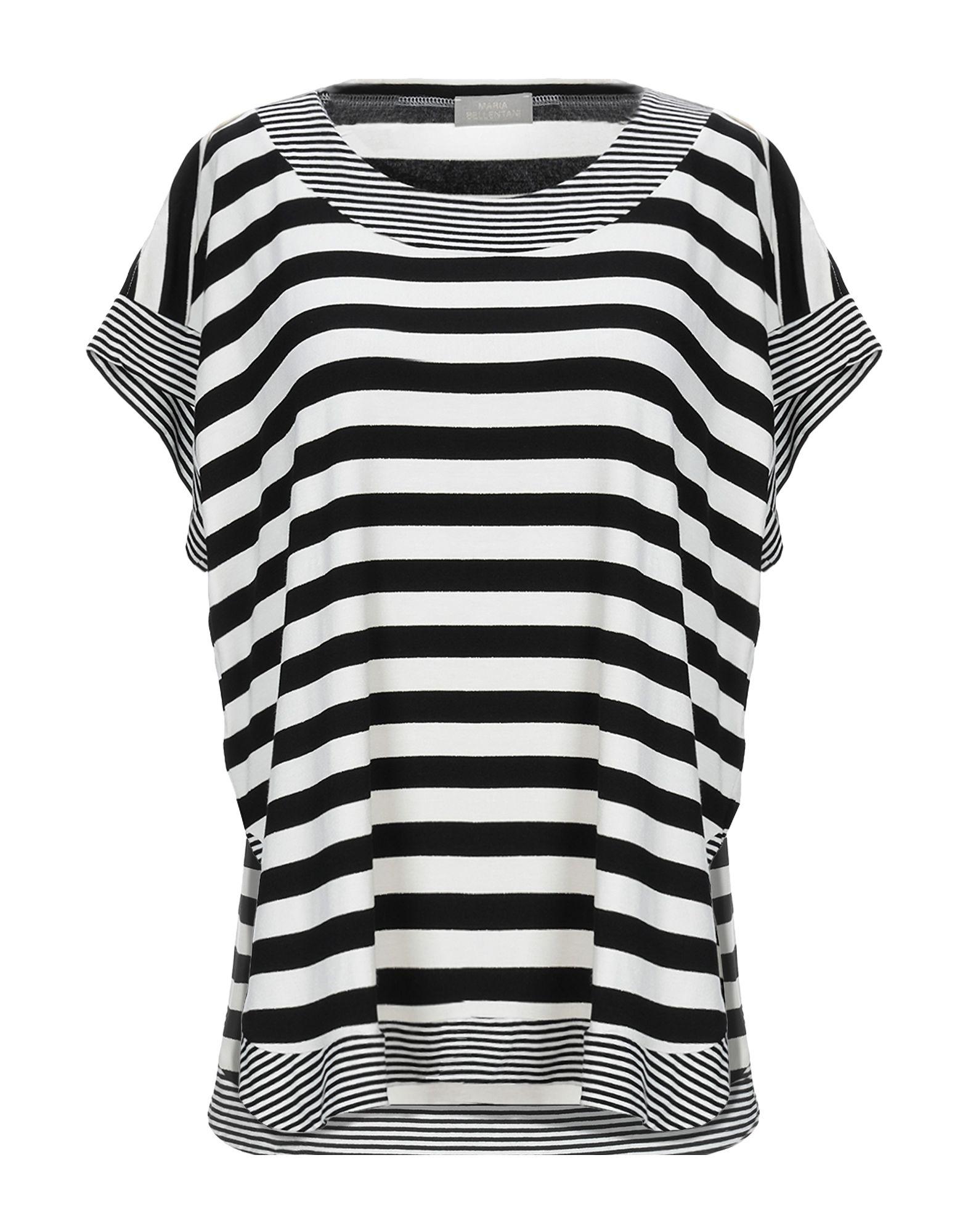 《送料無料》MARIA BELLENTANI レディース T シャツ ブラック XL レーヨン 95% / ポリウレタン 3% / ポリエステル 1% / ナイロン 1%