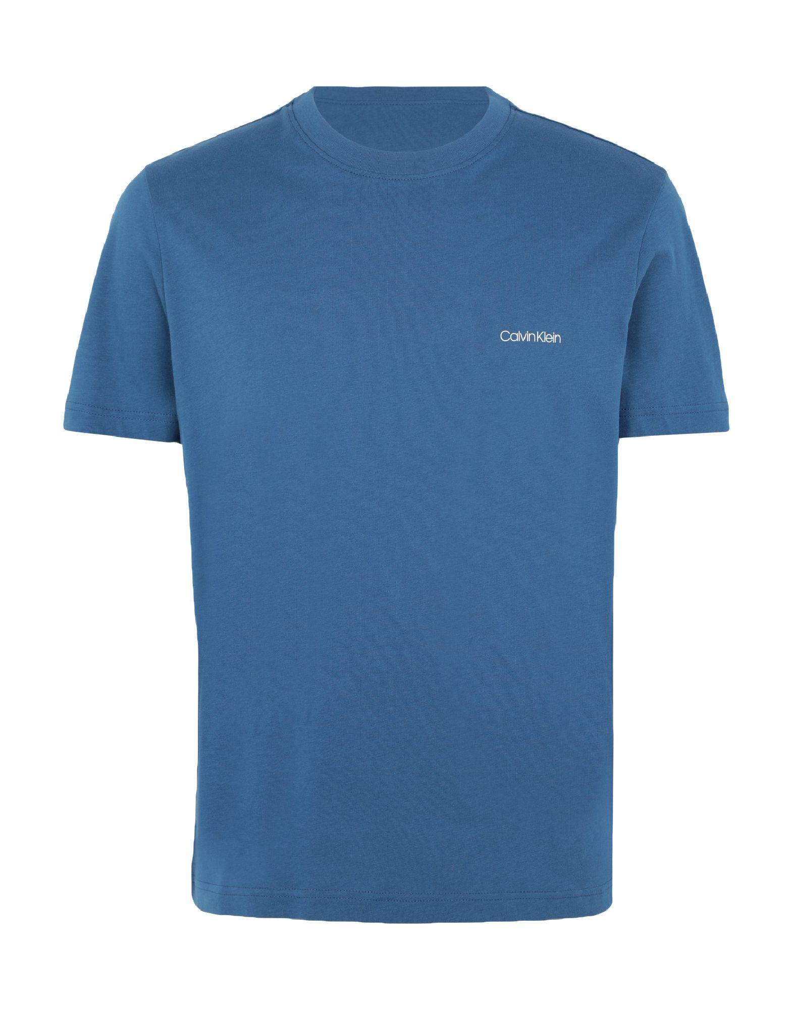 《セール開催中》CALVIN KLEIN メンズ T シャツ ブルーグレー S コットン 100% COTTON CHEST LOGO T-SHIRT