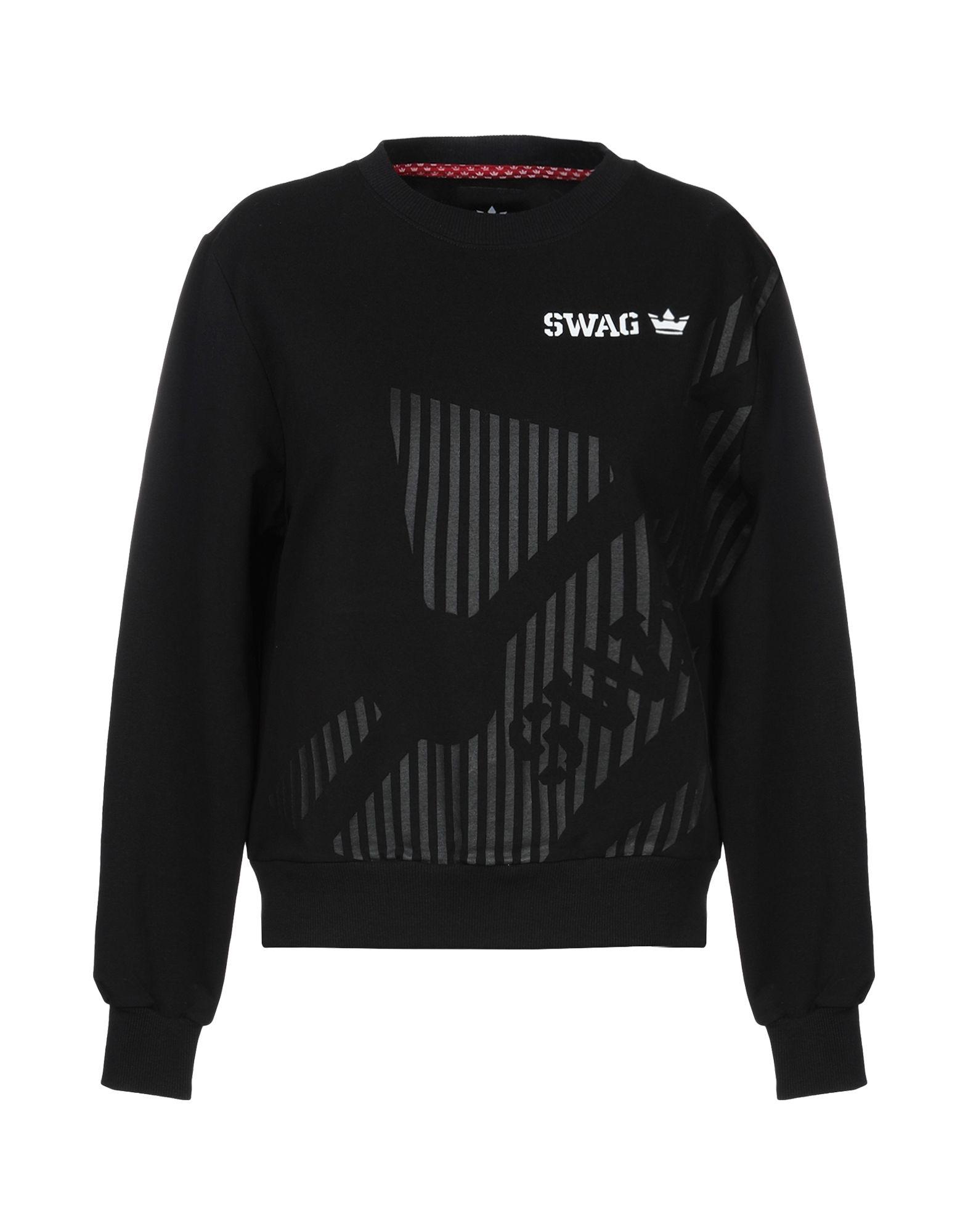 《セール開催中》SWAG レディース スウェットシャツ ブラック M コットン 95% / ポリウレタン 5%