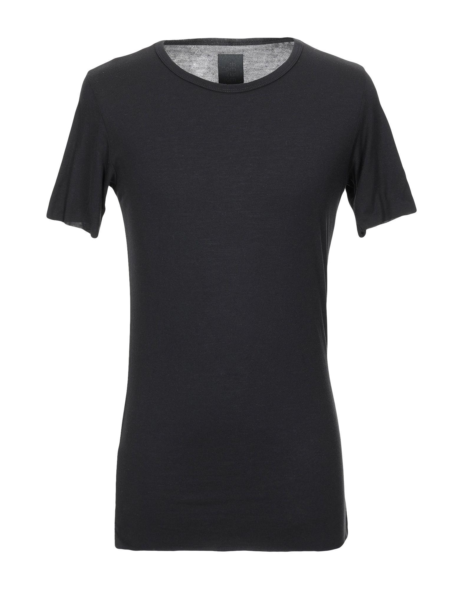 《送料無料》THOM KROM メンズ T シャツ ブラック XS レーヨン 85% / シルク 15%