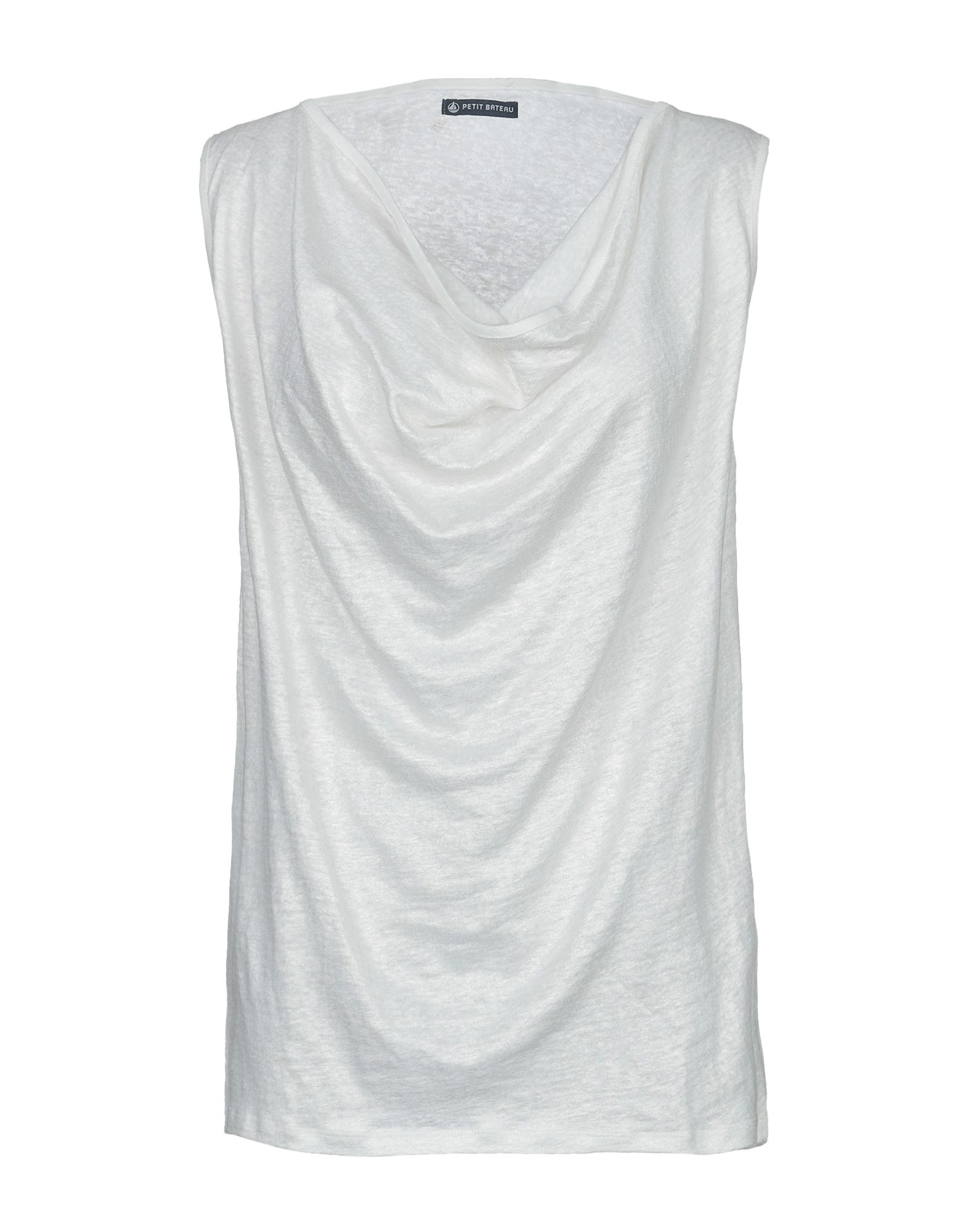 PETIT BATEAU Топ без рукавов light grey slit design bateau long sleeves top