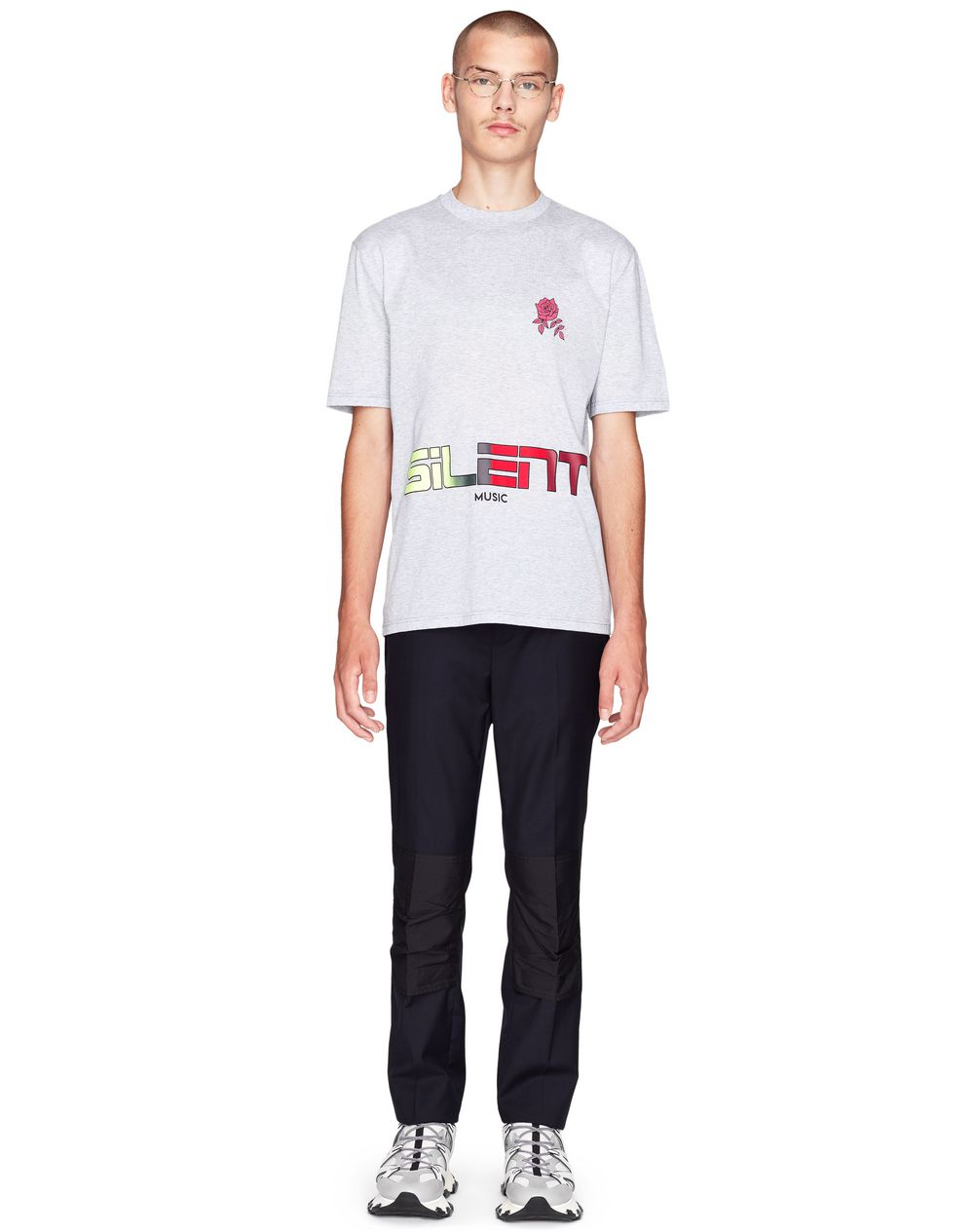"GRAY ""SILENT MUSIC"" T-SHIRT    - Lanvin"