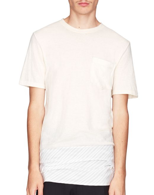 T-SHIRT LUNGA A RIGHE BI-MATERIALE     - Lanvin