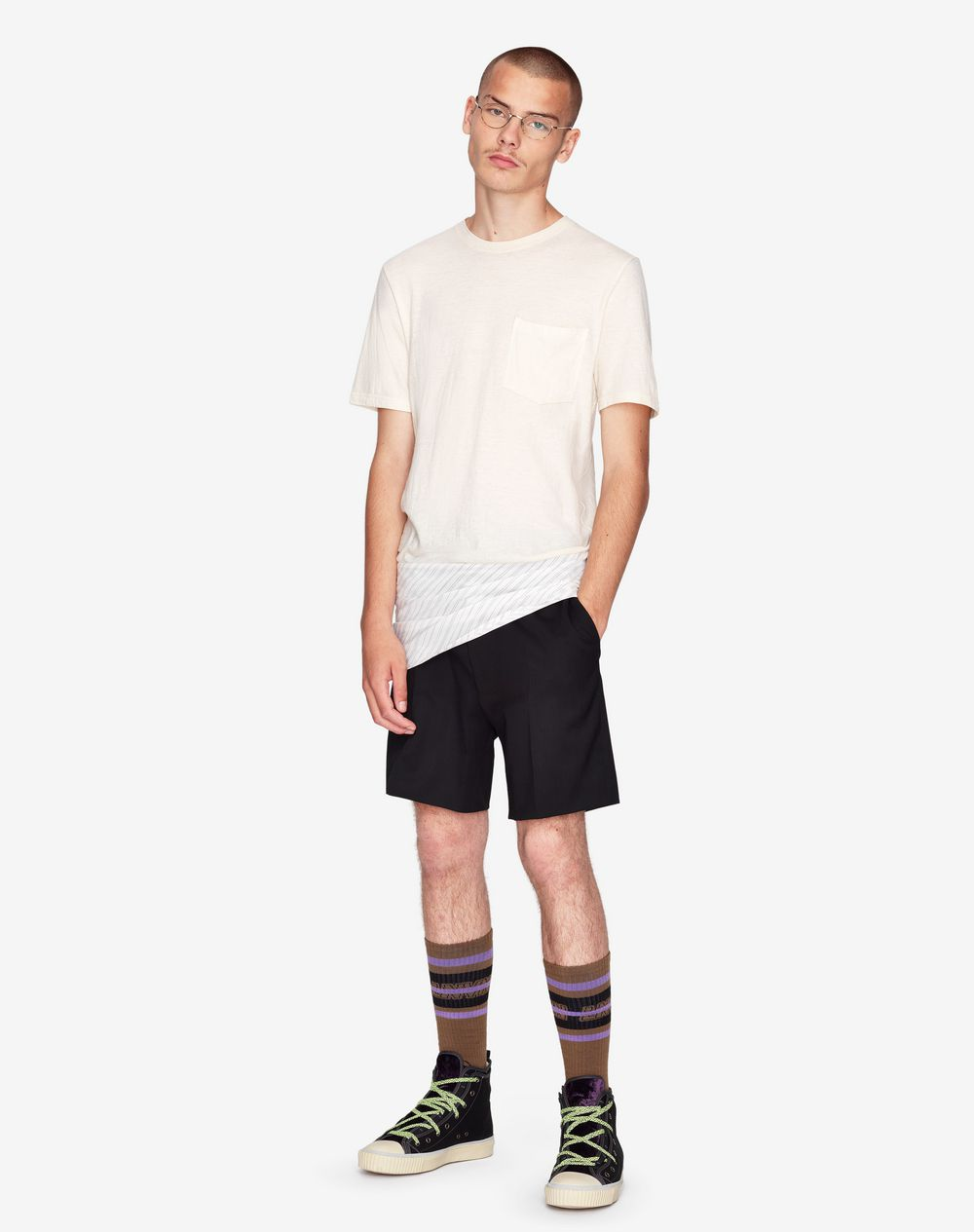 LONG STRIPED DUAL-MATERIAL T-SHIRT     - Lanvin