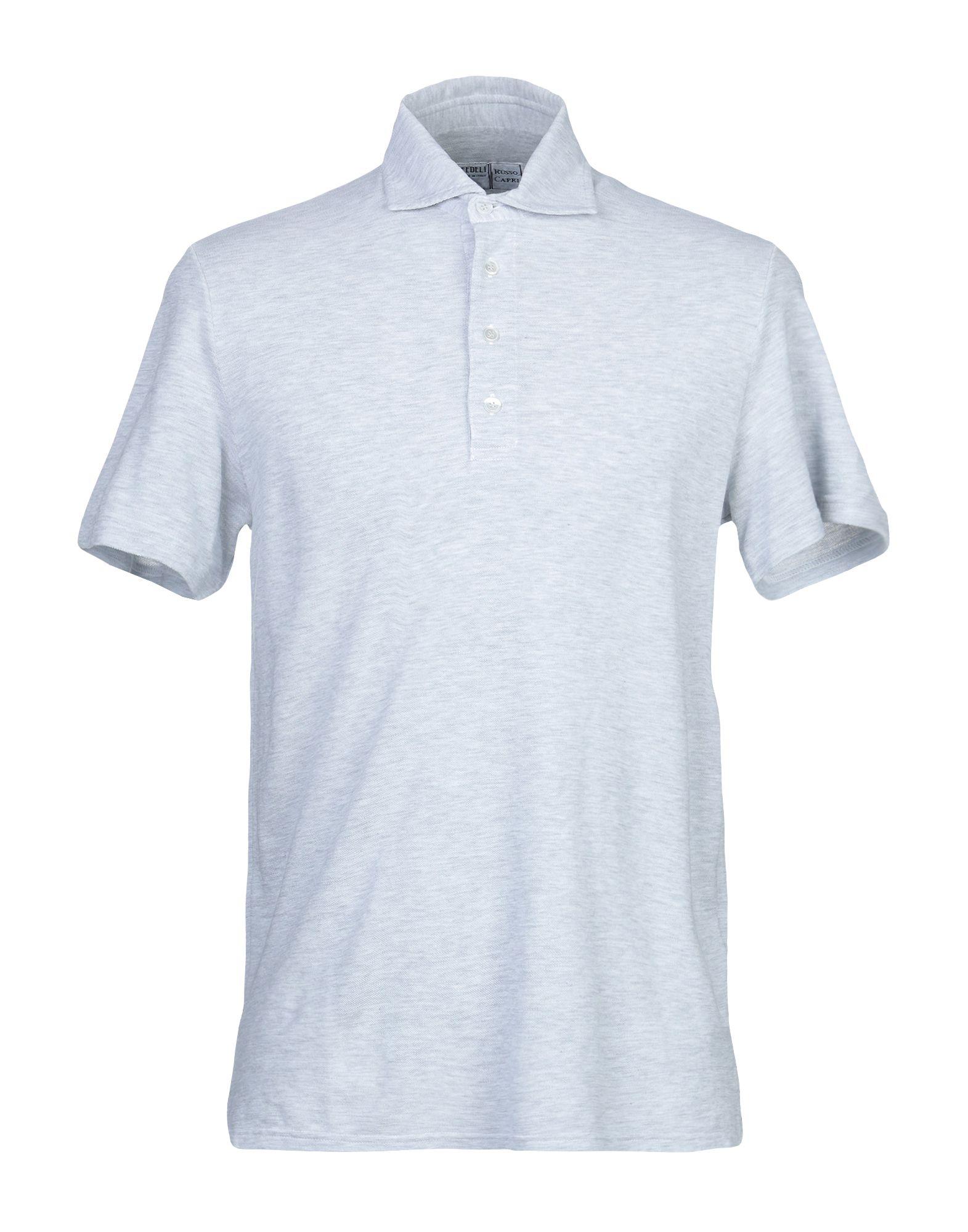 《期間限定セール中》FEDELI メンズ ポロシャツ ライトグレー 50 コットン 100%
