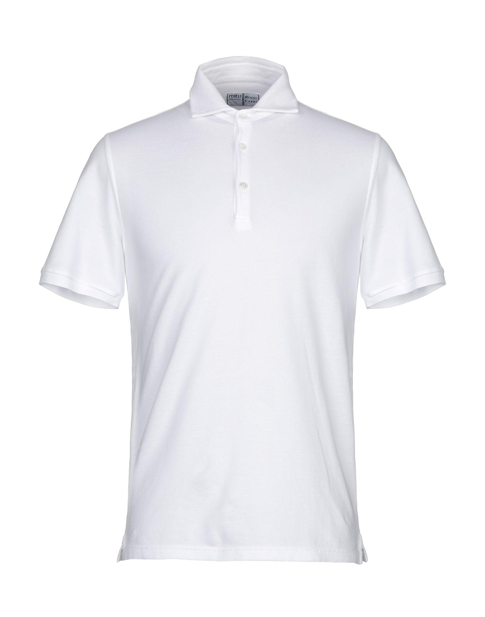《期間限定セール中》FEDELI メンズ ポロシャツ ホワイト 50 コットン 100%