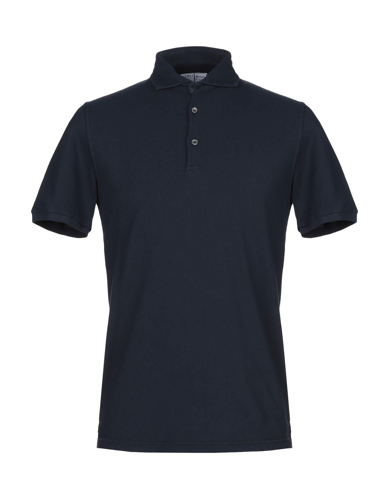 《期間限定セール中》FEDELI メンズ ポロシャツ ダークブルー 48 コットン 100%