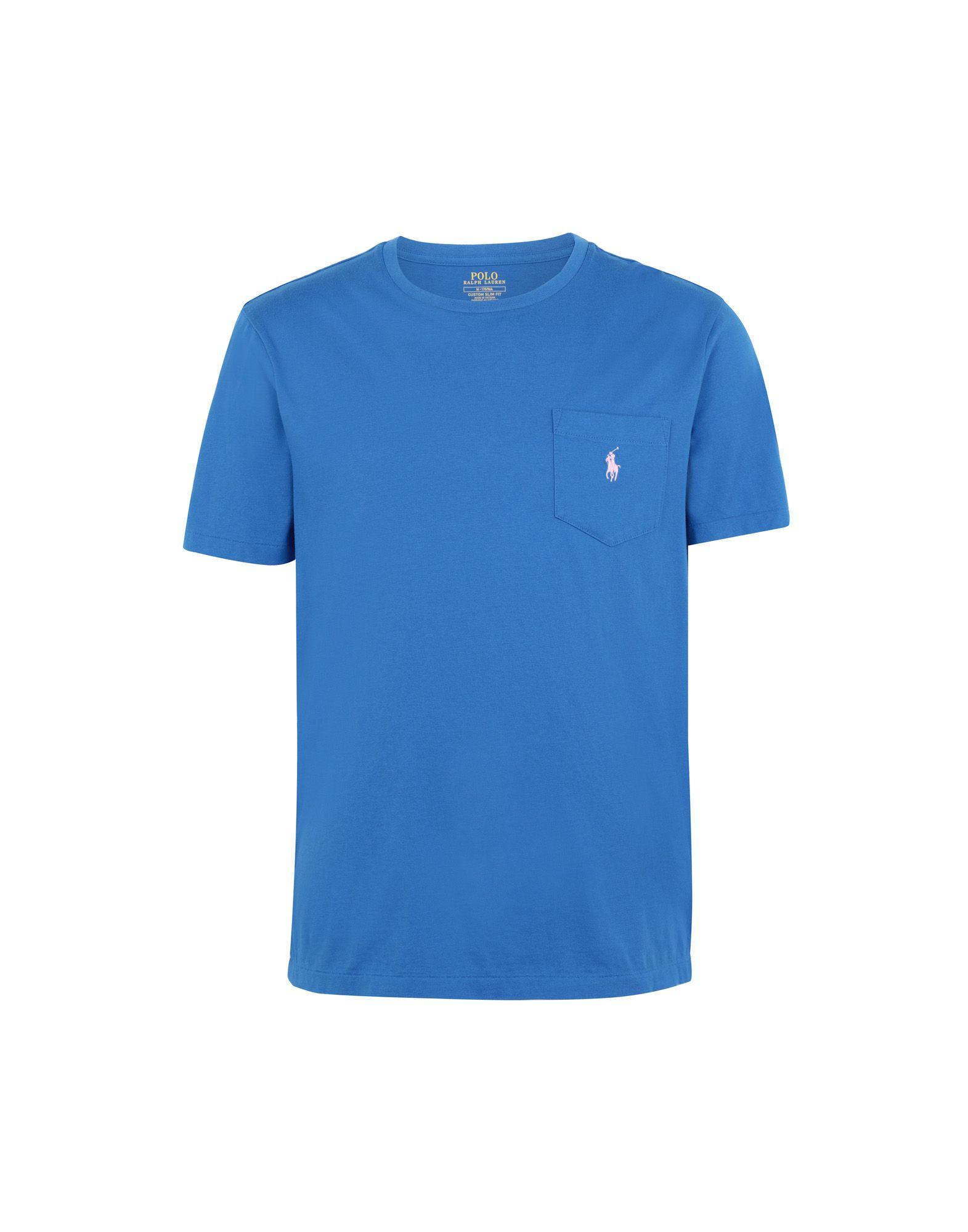 《送料無料》POLO RALPH LAUREN メンズ T シャツ アジュールブルー S コットン 100% Custom Slim Fit Pocket T-Shirt