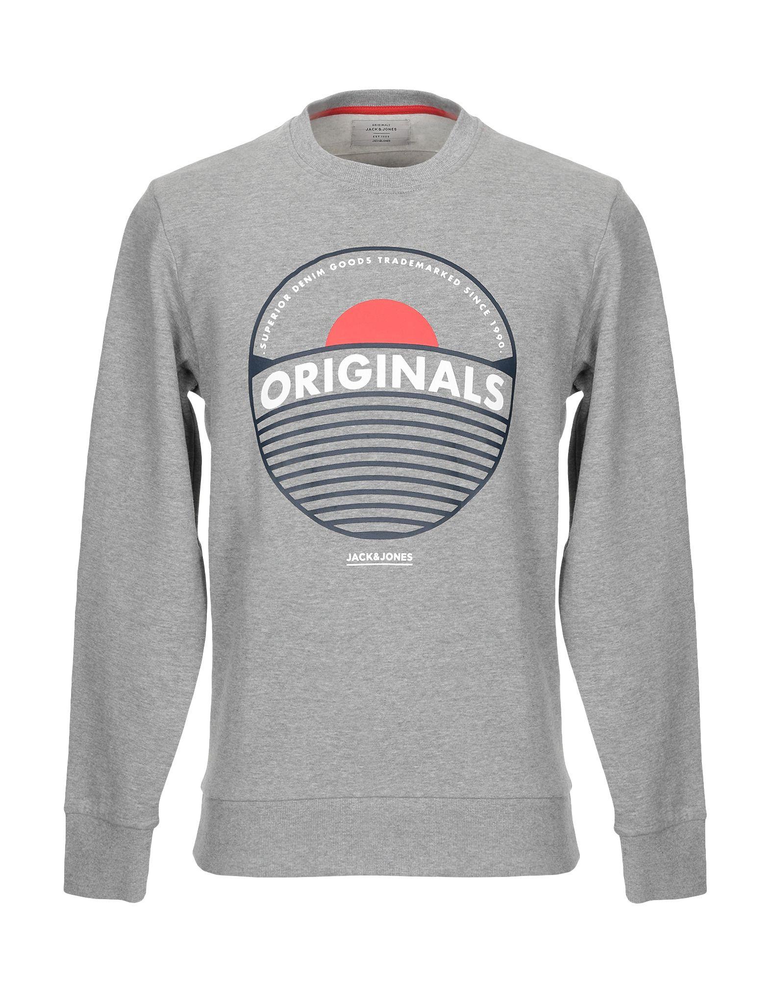 《期間限定セール開催中!》JACK & JONES ORIGINALS メンズ スウェットシャツ グレー S コットン 100%