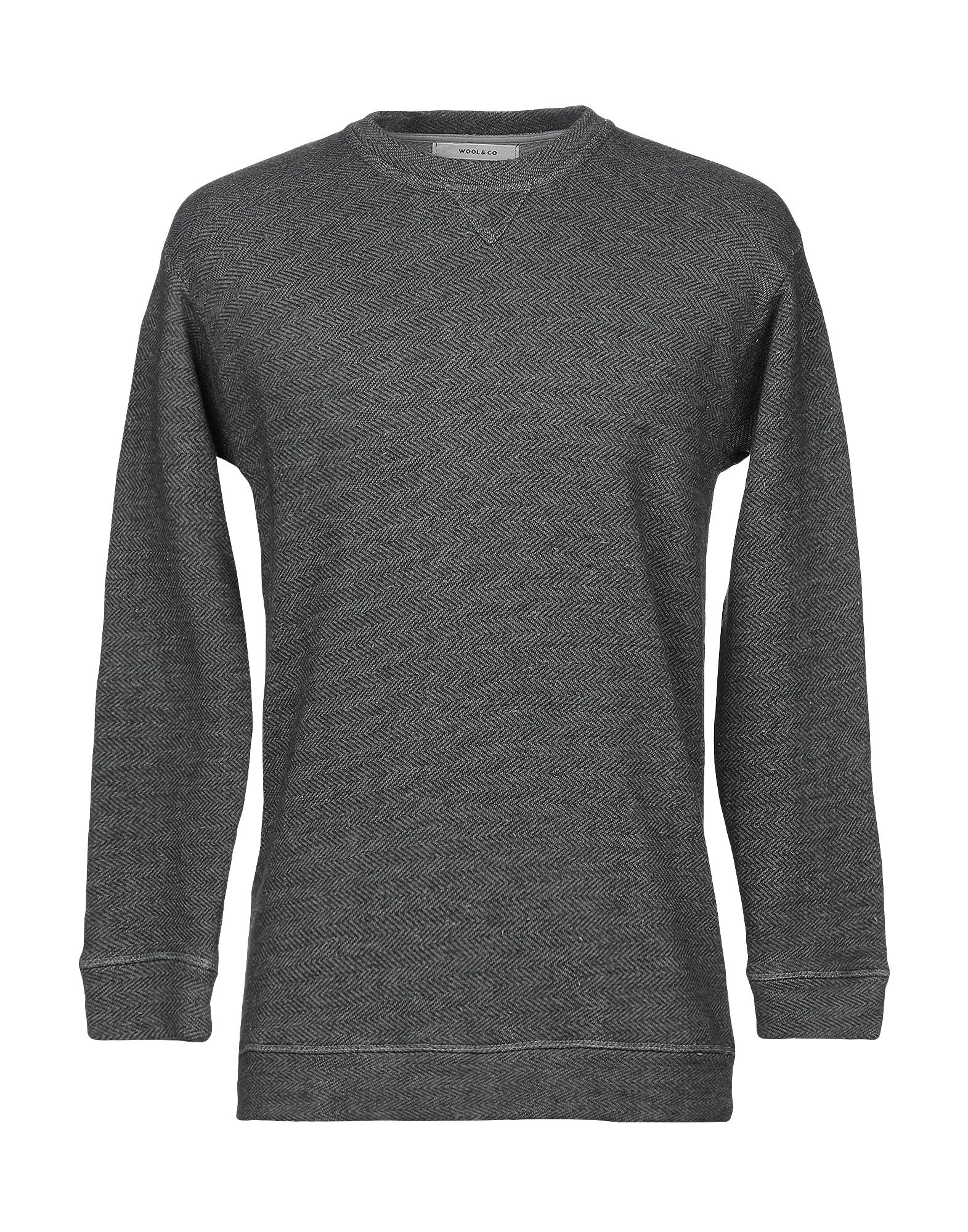 WOOL & CO Sweatshirts. no appliqués, herringbone, round collar, long sleeves, no pockets, french terry lining, small sized. 58% Cotton, 42% Polyester