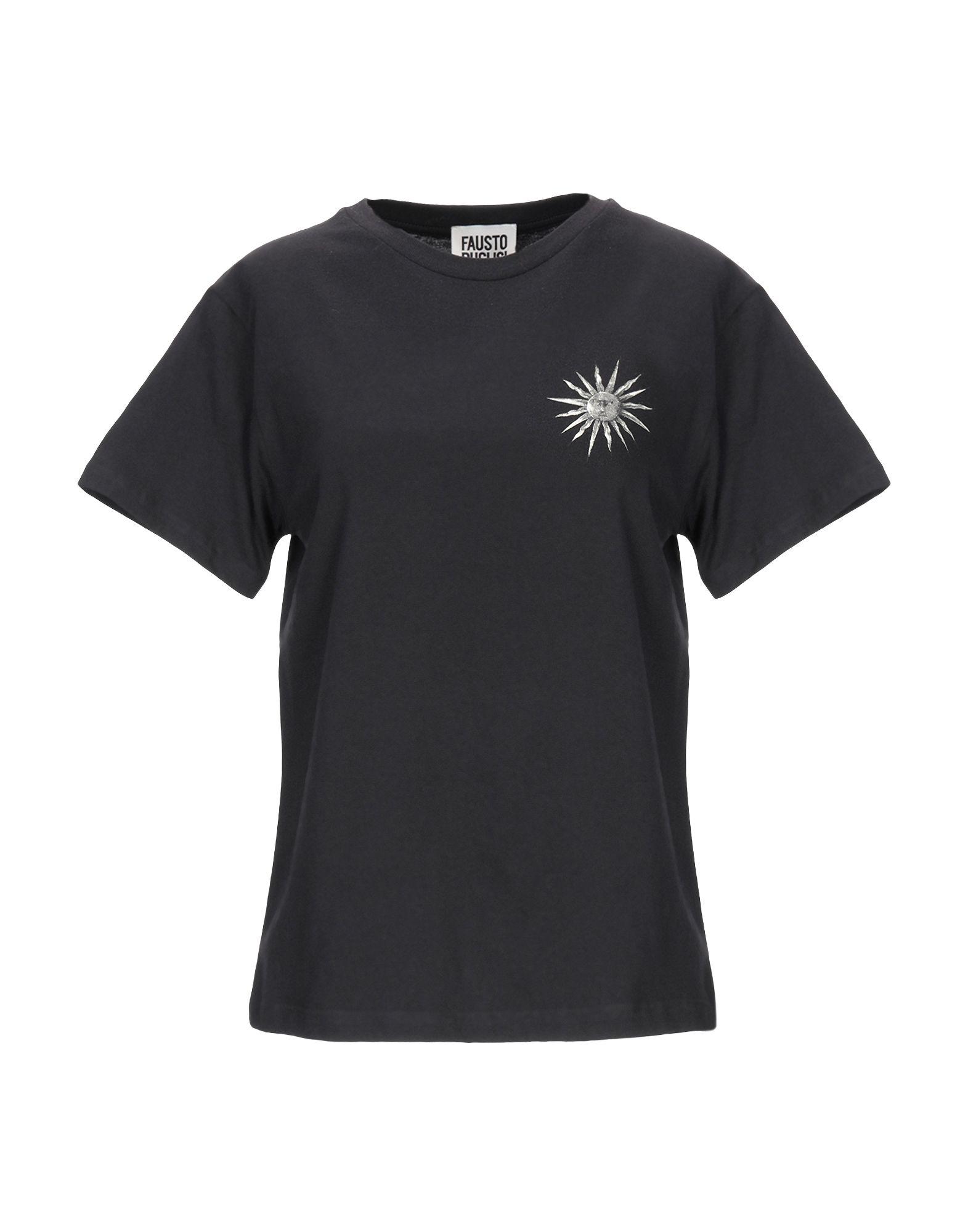 《セール開催中》FAUSTO PUGLISI レディース T シャツ ブラック 40 コットン 100%