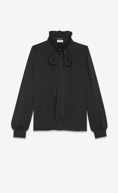 Blouse with frilly neck and lavallière tie in matte and shiny satin cashmere