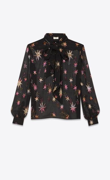 "Mao collar blouse in silk with ""multicolored star cutouts"""