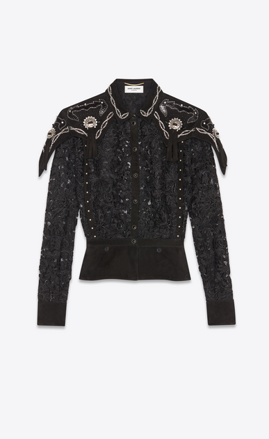 Western-style shirt with baroque guipure embroidery
