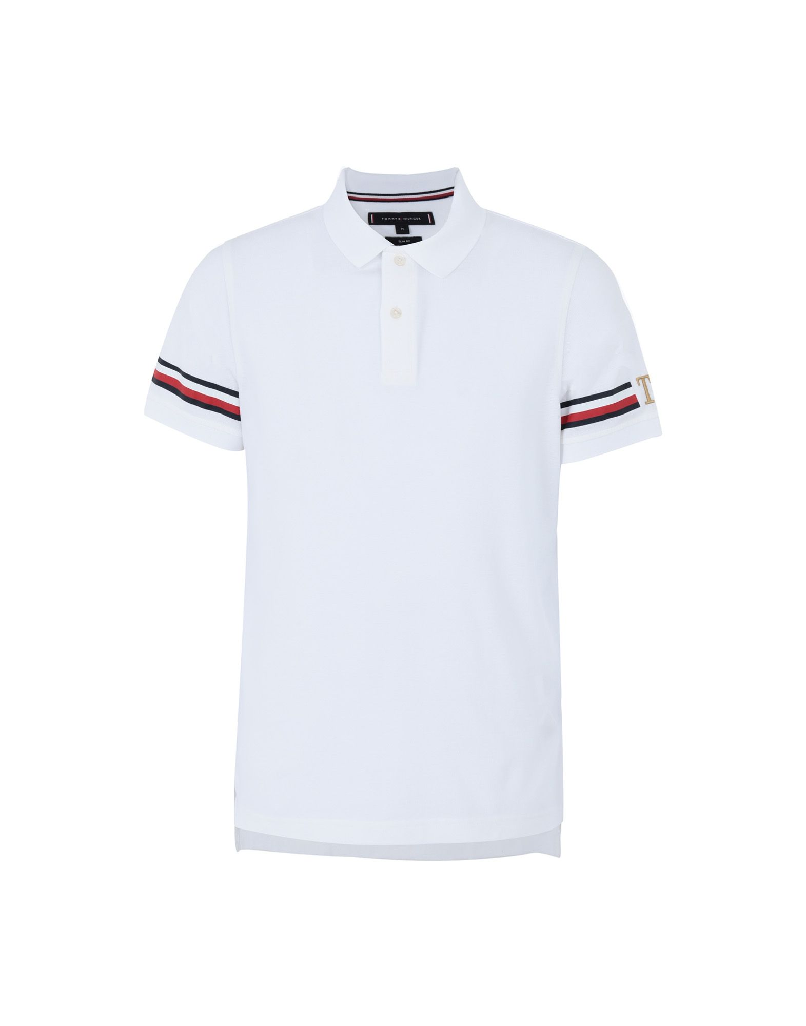 《セール開催中》TOMMY HILFIGER メンズ ポロシャツ ホワイト S コットン 100% ICON SLEEVE STRIPE SLIM POLO