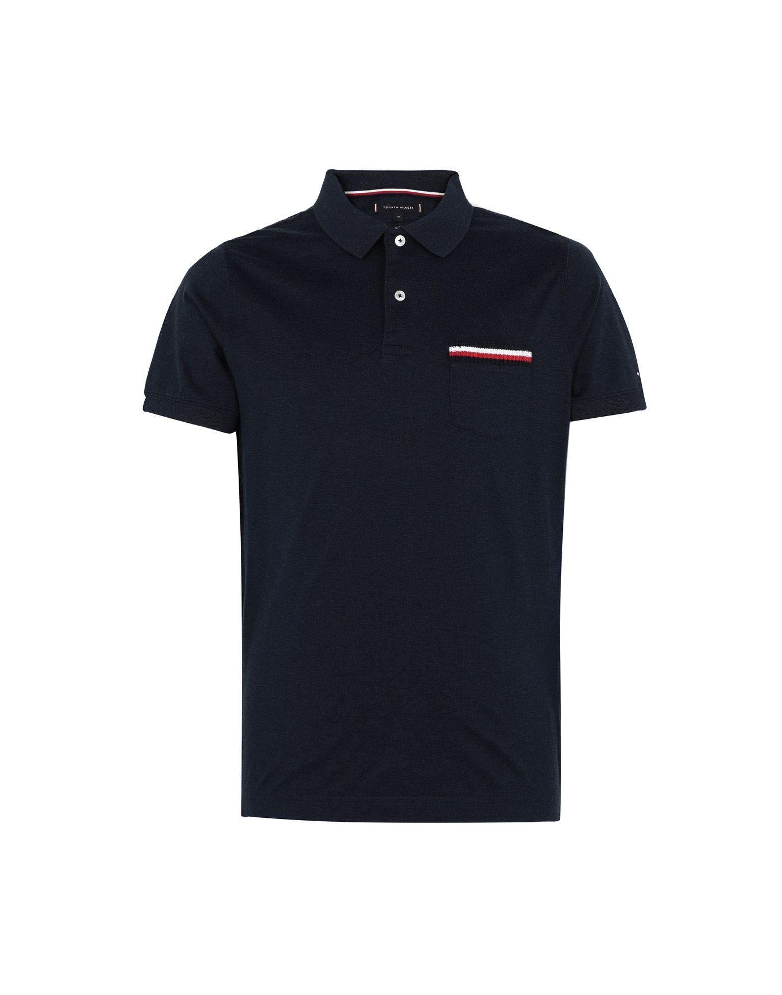 《送料無料》TOMMY HILFIGER メンズ ポロシャツ ダークブルー S コットン 100% TIPPED POCKET SLIM POLO
